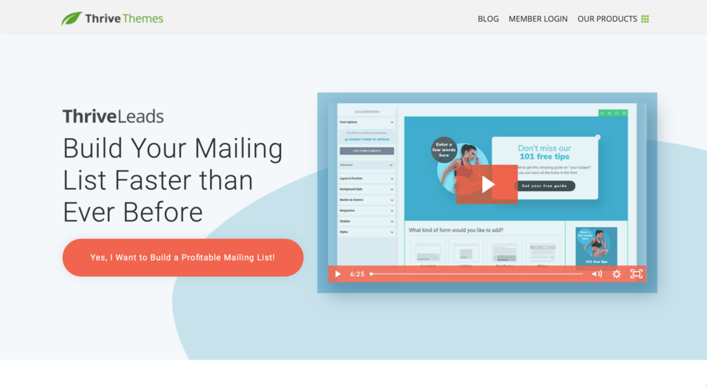 ThriveLeads build your mailing list