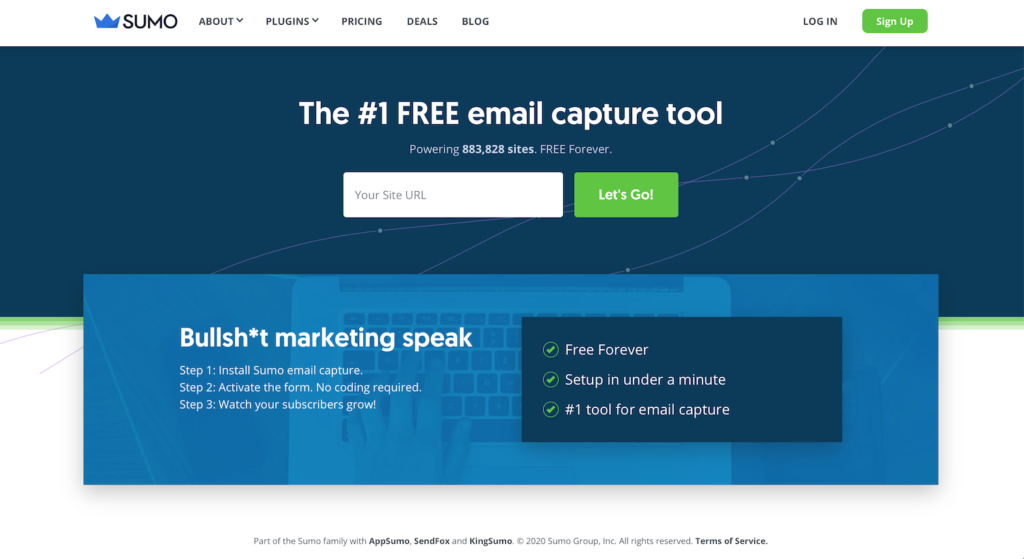 sumo free email capture tool website